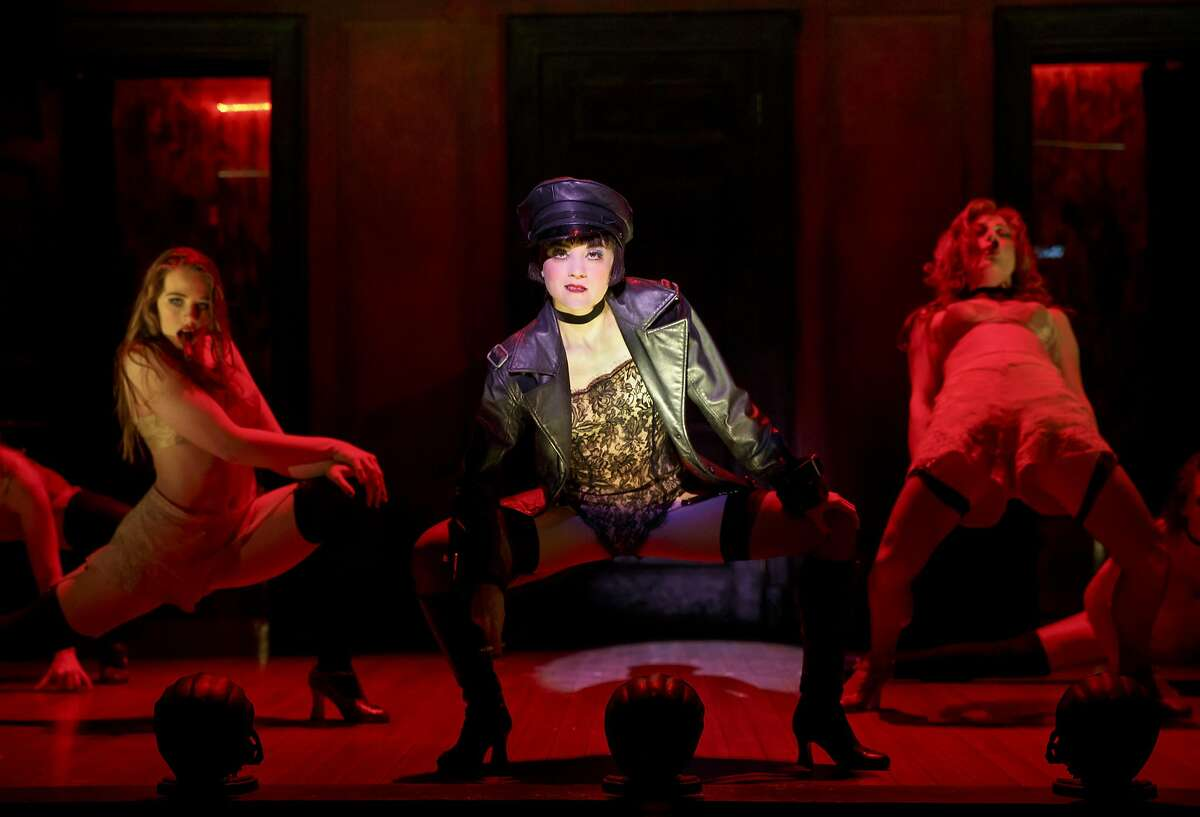 """Sarah Bishop as Helga, Andrea Goss as Sally Bowles and Alison Ewing as Fritzie in the 2016 national tour of Roundabout Theatre Company's """"Cabaret."""""""