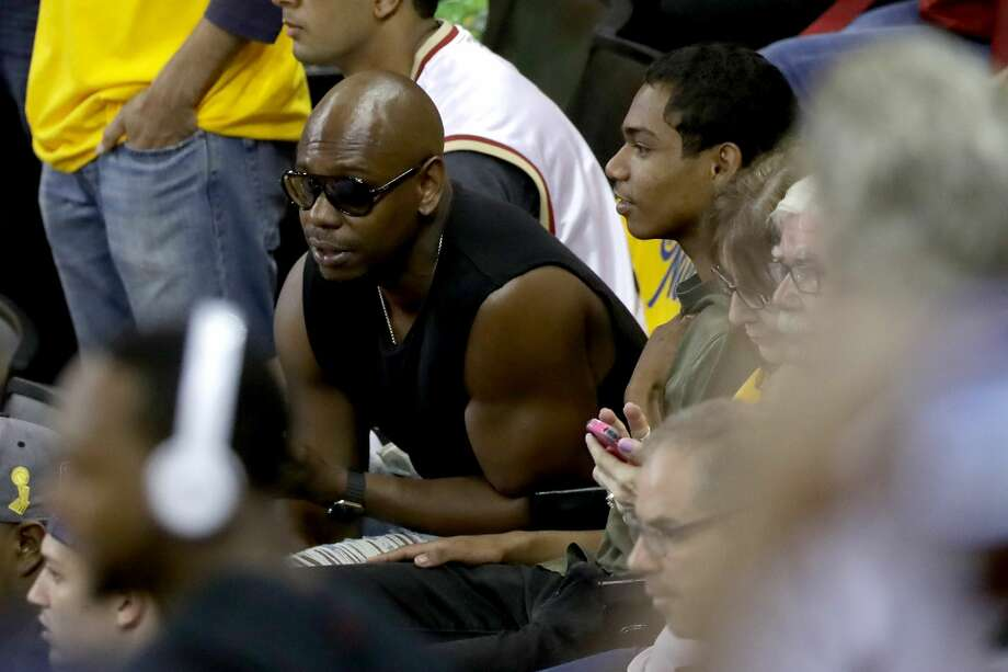 Comedian Dave Chappelle attends Game 7 of the 2016 NBA Finals between the Golden State Warriors and the Cleveland Cavaliers at ORACLE Arena on June 19, 2016 in Oakland, California. Photo: Ronald Martinez/Getty Images