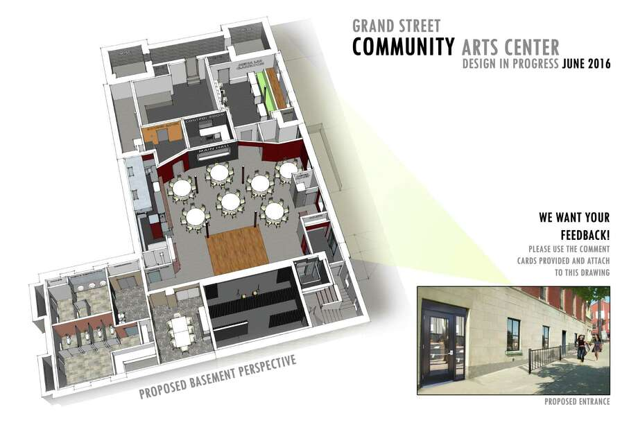 Grand Street Community Arts unveiled architectural plans for the 5,000 square feet available in the basement of the former St. Anthony's Church at 68 Grand Street in Albany.  Photo credit: Troy Architecture Project