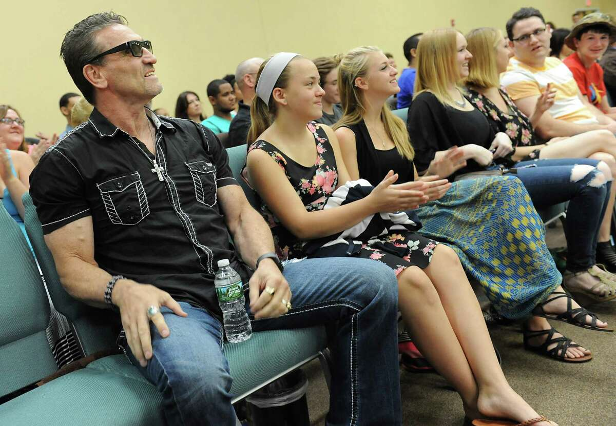 UFC legend Ken Shamrock, left, is introduced to speak about his journey at the House of Praise on Sunday, June 19, 2016 in Castleton-On-Hudson, N.Y. After 20 years, New York has lifted the ban on Mixed Martial Arts. (Lori Van Buren / Times Union)