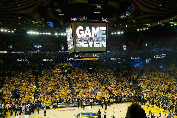 OAKLAND, CA - JUNE 19:  A general view of Game 7 of the 2016 NBA Finals between the Golden State Warriors and the Cleveland Cavaliers at ORACLE Arena on June 19, 2016 in Oakland, California. NOTE TO USER: User expressly acknowledges and agrees that, by downloading and or using this photograph, User is consenting to the terms and conditions of the Getty Images License Agreement.  (Photo by Ronald Martinez/Getty Images)