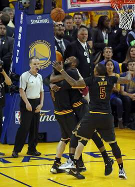 Cleveland Cavaliers' LeBron James celebrates NBA Finals' Championship with Kevin Love and J.R. Smith after 93-89 win over Golden State Warriors in Game 7 of the NBA Finals at Oracle Arena in Oakland, Calif., on Sunday, June 19, 2016.