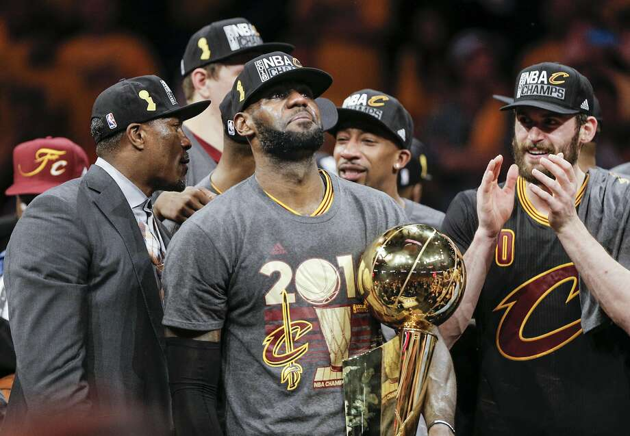 Cleveland Cavaliers' LeBron James holds the the Larry O'Brien NBA Championship Trophy after defeating Golden State Warriors 93 to 89 in Game 7 of the NBA Finals at Oracle Arena on Sunday, June 19, 2016 in Oakland, Calif. Photo: Carlos Avila Gonzalez, The Chronicle
