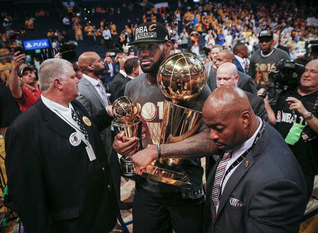 Cleveland Cavaliers LeBron James Walks Off The Court With Larry O Brien