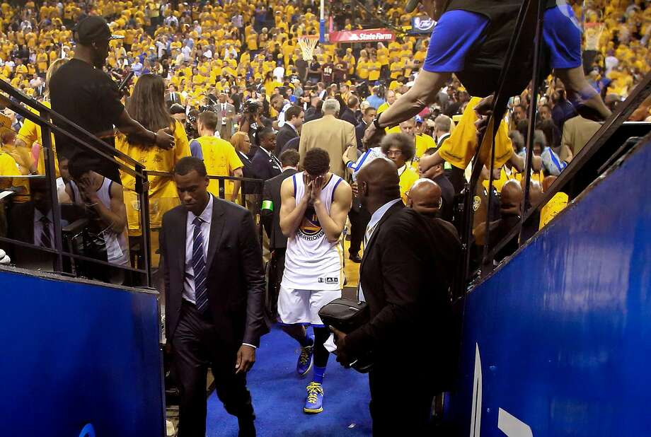 Warriors' Klay Thompson heads to the locker room after the Golden State Warriors lost to the the Cleveland Cavaliers 93-89 in game 7 of the NBA Championship at Oracle Arena in Oakland, California on Sun. June 19, 2016. Photo: Michael Macor, The Chronicle