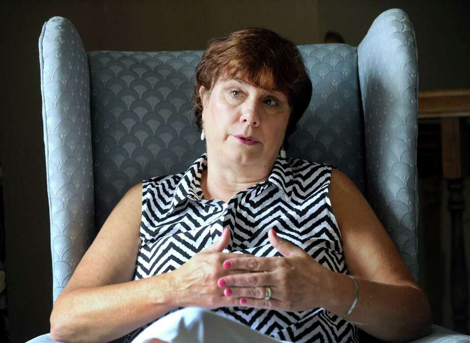 Lori Kehoe, wife of retired Newtown Police Chief Michael Kehoe, talks about the struggles she and others faced in the aftermath of the 2012 Sandy Hook School shootings. Photo: Carol Kaliff / Hearst Connecticut Media / The News-Times