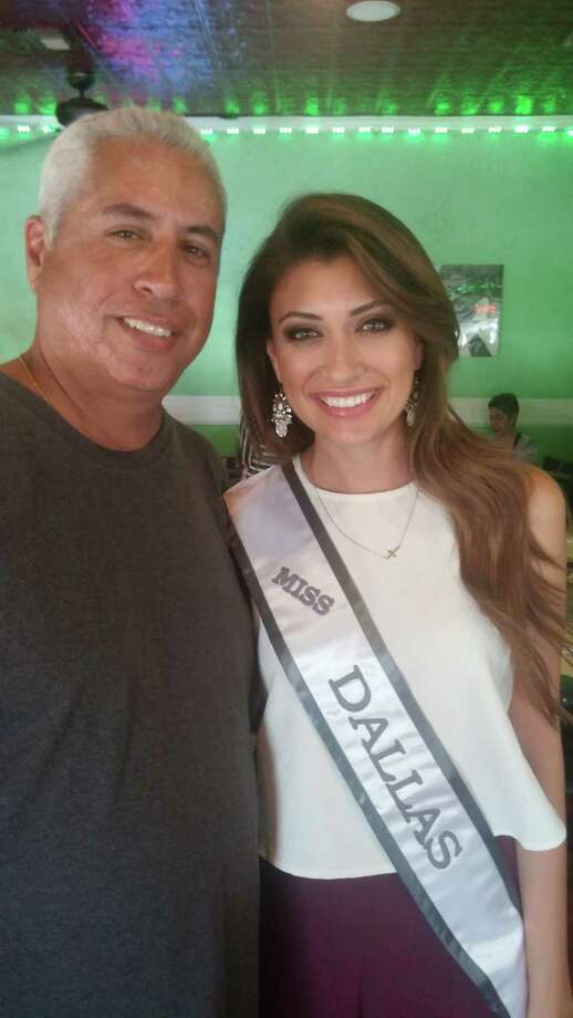 Ashlea Gutierrez, 2009 West Brook High School graduate and the reigning Miss Dallas USA, stands with her father, Juan, at Casa Tapatia in Beaumont.