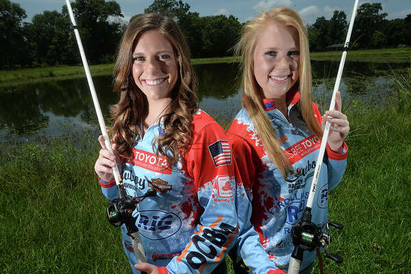 Lumberton High School's Natalie Doucet and Baylee Flowers will compete in this weekend's Southeast Texas High School Fishing Association's championship tournament at Sam Rayburn. The pair are currently at the top of the leader board after being named Anglers of the Year, and stand to take home a $10,000.00 prize if they win. Like professional anglers, their uniforms are covered with sponsorships from area businesses. Several regional high schools have fishing teams, as the sport continues to rise in popularity. Photo taken Thursday, June 16, 2016 Kim Brent/The Enterprise