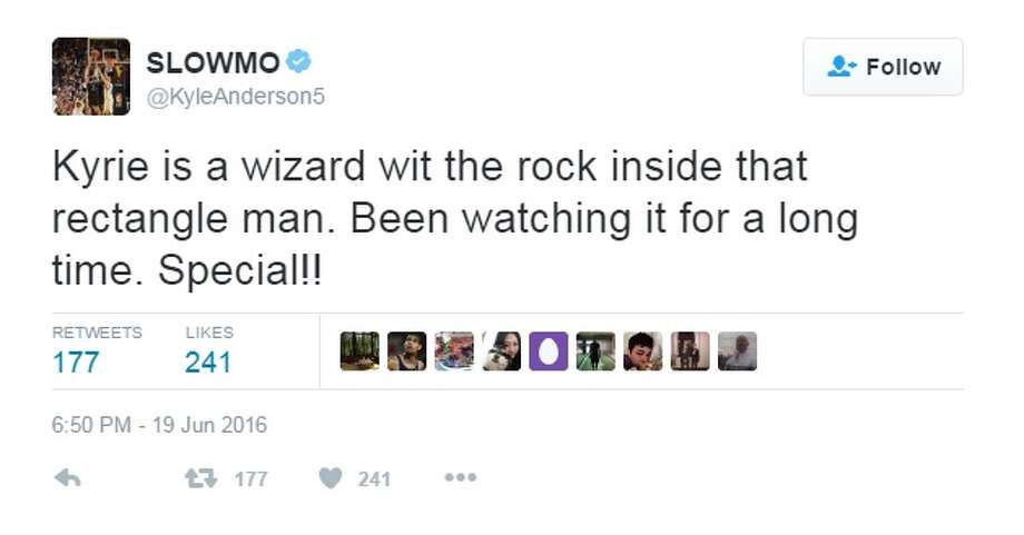 """Kyrie is a wizard wit the rock inside that rectangle man. Been watching it for a long time. Special!!,"" @KyleAnderson5. Photo: Twitter.com"