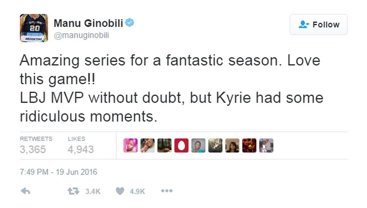 """""""Amazing series for a fantastic season. Love this game!! LBJ MVP without doubt, but Kyrie had some ridiculous moments,"""" @manuginobili."""