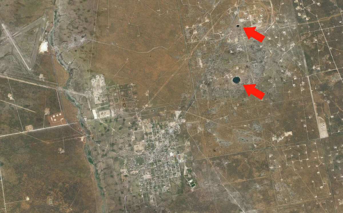 This is how close the two sinkholes are to the town of Wink, Texas (lower left).Click forward to see how Wink 2 - the larger of the two sinkholes - has changed over the years.
