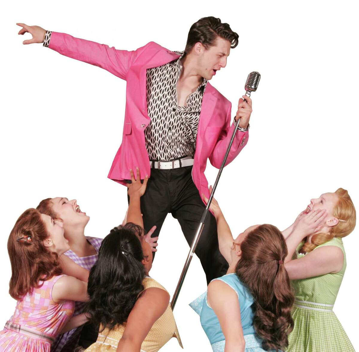 """Rhett Guter, as Conrad Birdie, is surrounded by his fans in """"Bye Bye Birdie"""" on stage at the Goodspeed in East Haddam, Friday, June 24, through Sunday, Sept. 4."""