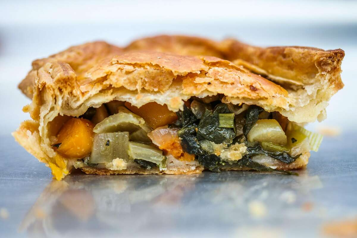 A vegetable savory pie sits on a tray at the Sage Bakehouse pie stand at the Clement Street Market, in San Francisco, California, on Sunday, June 19, 2016.