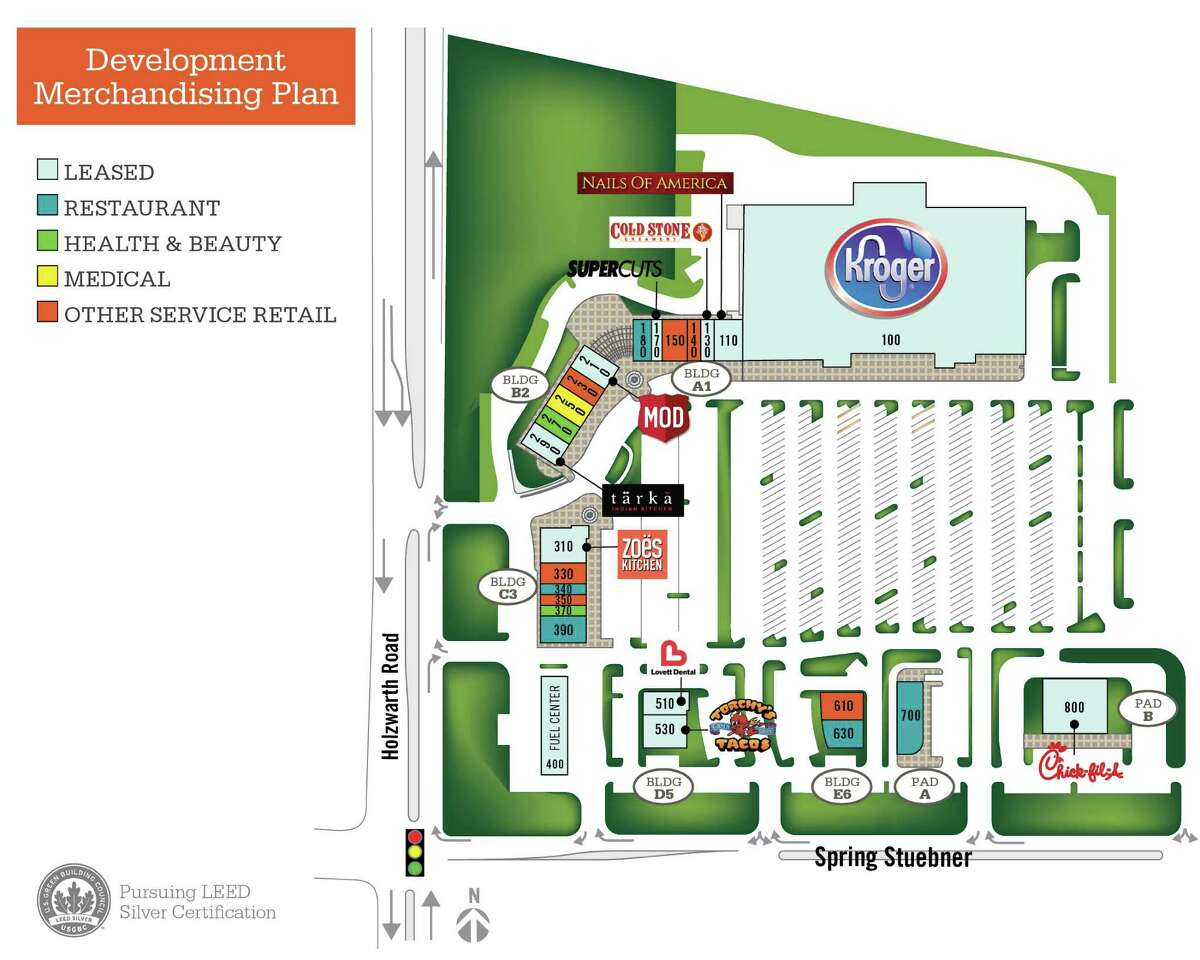 Regency Centers Corp. is developing The Market at Springwoods Village in a joint venture with CDC Houston. The 170,000-square-foot center at the northeast corner of Holzward Road and Spring Stuebner will be anchored by a Kroger Marketplace.