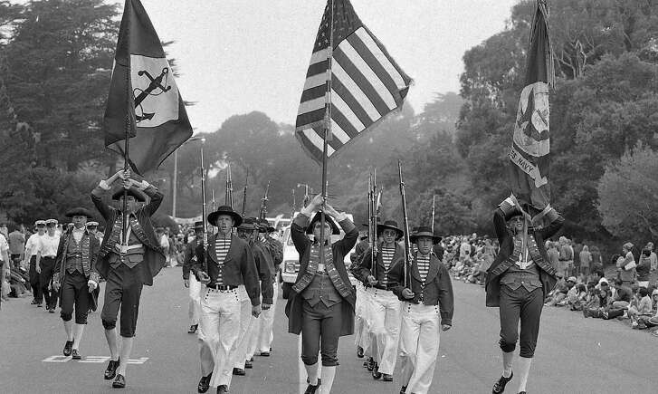 Double Bicentennial celebration and parade in Golden Gate Park  Independence Day 07/04/1976