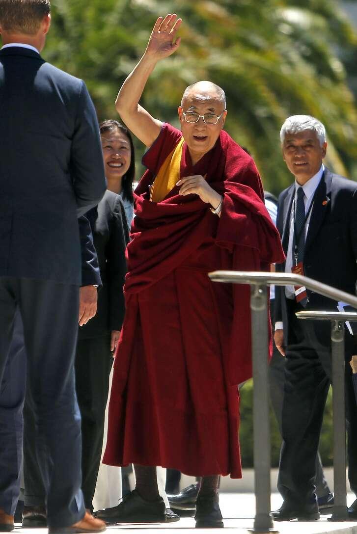 The Dalai Lama arrives at the California State Capital to address the California Legislature in Sacramento, Calif., on Monday, June 20, 2016.