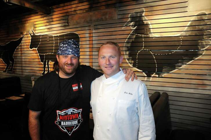 Pitmaster Brett Jackson and chef Eric Aldis at Midtown Barbecue at 2708 Babgy  Wednesday June 1,2016(Dave Rossman Photo)