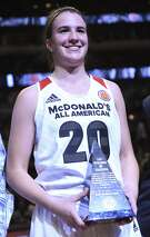CHICAGO, IL - MARCH 30: Sabrina Ionescu #20 of the West team is named MVP of the game during the 2016 McDonalds's All American Game on March 30, 2016 at the United Center in Chicago, Illinois. The West won 97-88. (Photo by David Banks/Getty Images)