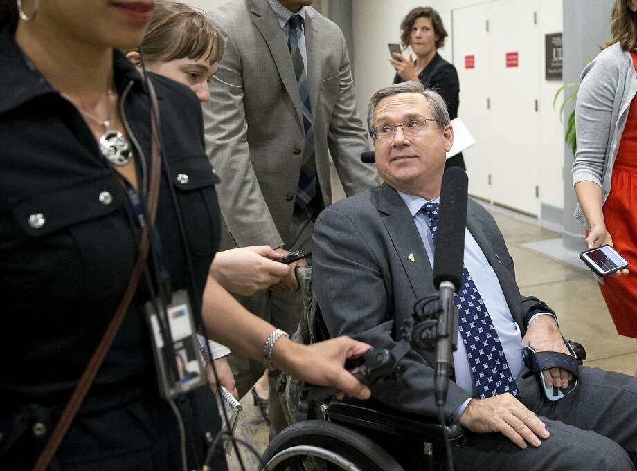 Sen. Mark Kirk, R-Ill., listens to a reporter's question on Capitol Hill, Monday, June 20, 2016 in Washington. A divided Senate hurtled Monday toward an election-year stalemate over curbing guns. (AP Photo/Alex Brandon) Photo: Alex Brandon, Associated Press