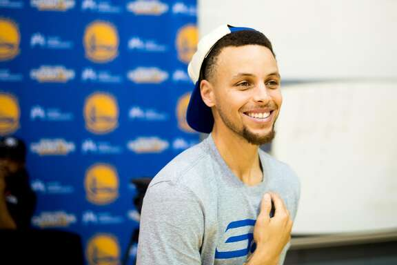 Golden State Warrior Stephen Curry leaves a press conference Monday, June 20, 2016, at the Warrior's Oakland, Calif., training facility.