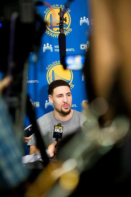 """Klay Thompson remains upset by Sunday's loss. """"We feel like we're still the best team in the world,"""" he said. Photo: Noah Berger, Special To The Chronicle"""