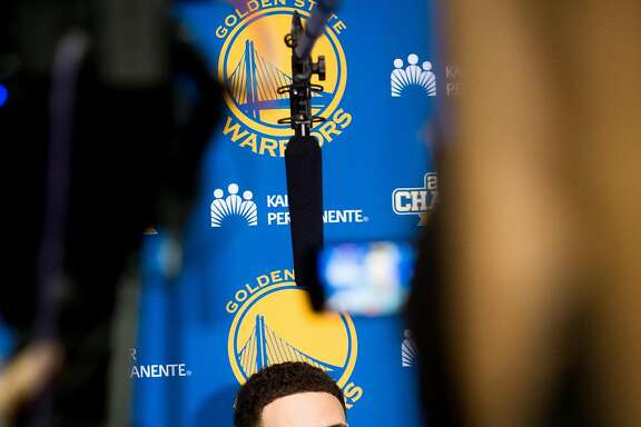 Golden State Warrior Klay Thompson discusses his team's season and championship loss during a press conference Monday, June 20, 2016, at the Warrior's Oakland, Calif., training facility.