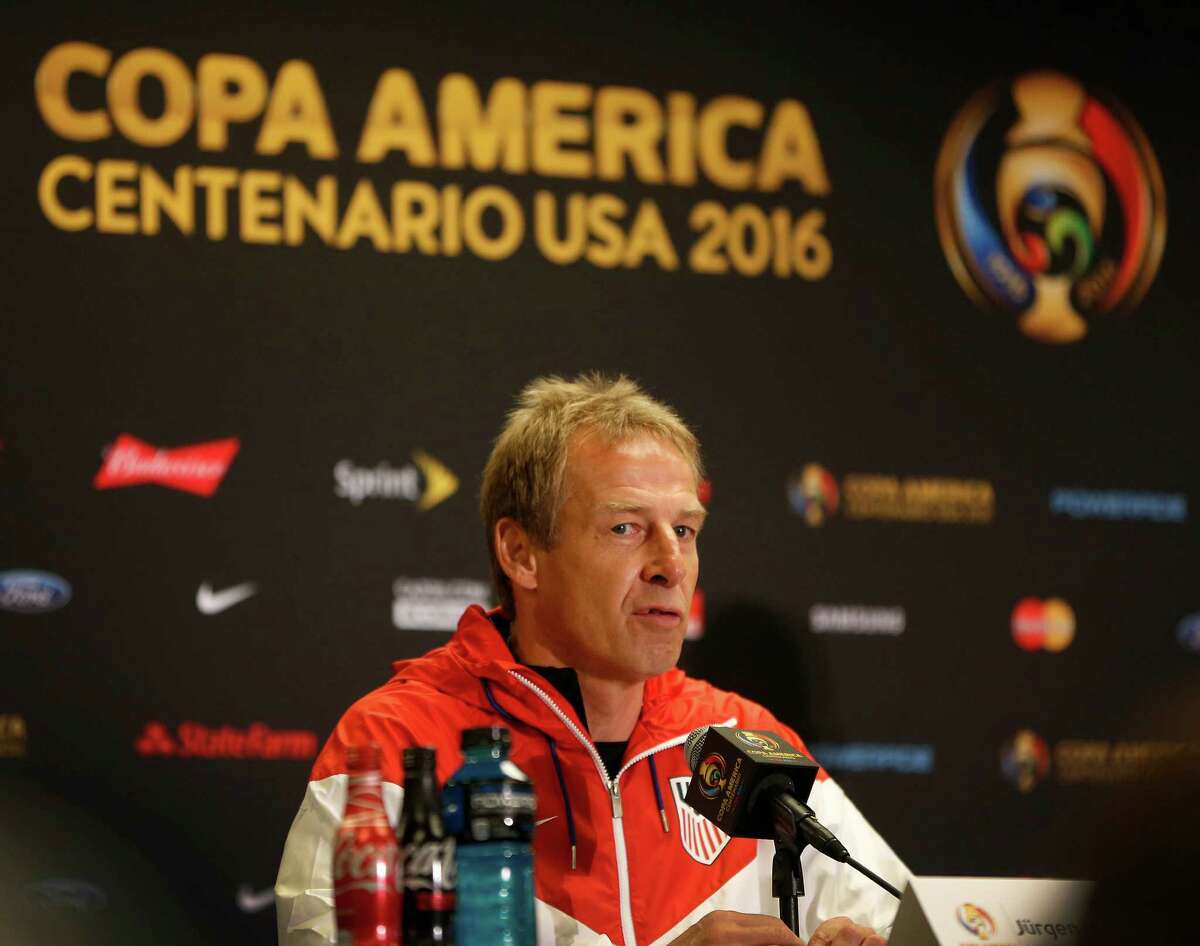 USA head coach Jürgen Klinsmann speaks to the media during the USA men's soccer practice at NRG, Monday, June 20, 2016, in Houston, as they prepare to face Argentina, Tuesday night.