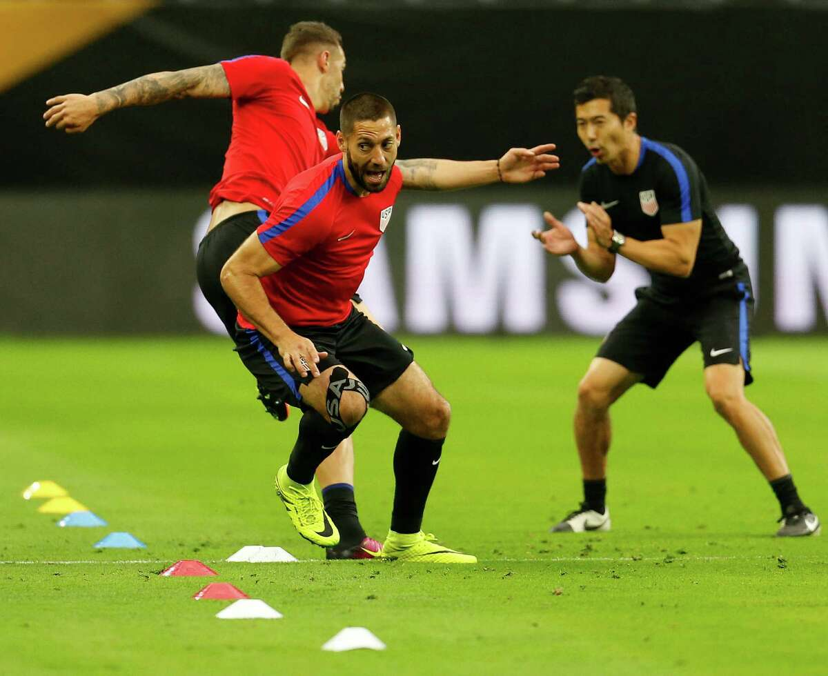 Clint Dempsey runs through a drill during the USA men's soccer practice at NRG, Monday, June 20, 2016, in Houston, as they prepare to face Argentina, Tuesday night.