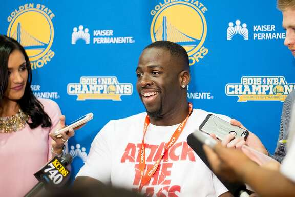 Golden State Warrior Draymond Green discusses his team's season and championship loss during a press conference Monday, June 20, 2016, at the Warrior's Oakland, Calif., training facility.