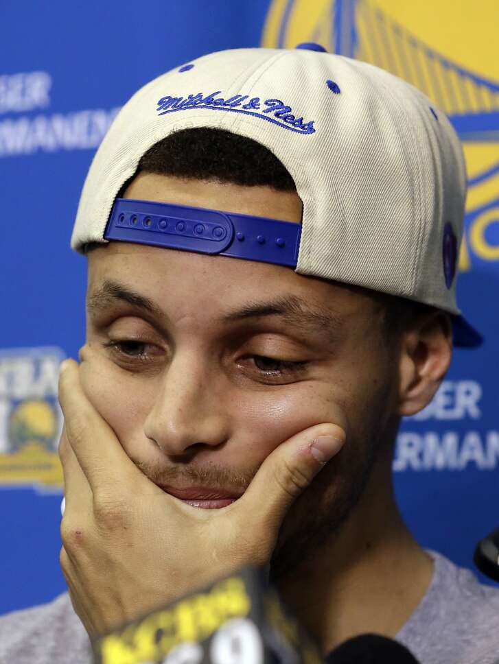 Golden State Warriors' Stephen Curry listens to a question Monday, June 20, 2016, in Oakland, Calif., the day after the Cleveland Cavaliers defeated the Warriors in basketball's NBA Finals. (AP Photo/Ben Margot)