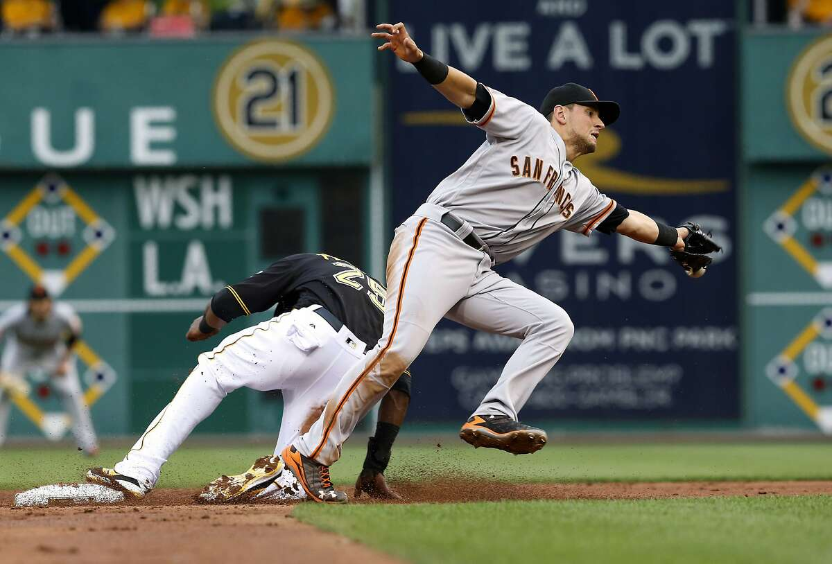 San Francisco Giants second baseman Joe Panik, right, stretches for the throw as Pittsburgh Pirates' Gregory Polanco slides into second during the second inning of a baseball game Monday, June 20, 2016, in Pittsburgh. Pirates' Erik Kratz was called out on strikes for the last out on the play though and the inning was over. (AP Photo/Keith Srakocic)