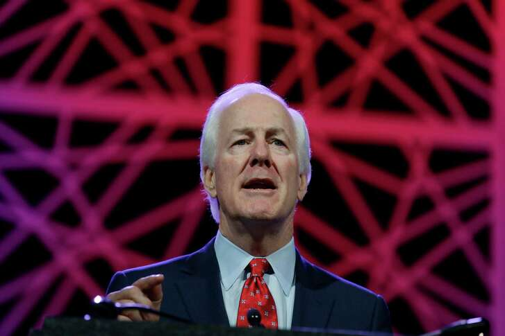Sen. John Cornyn, R-Texas, speaks during the general session of the Texas Republican Convention Friday, May 13, 2016, in Dallas. (AP Photo/LM Otero)