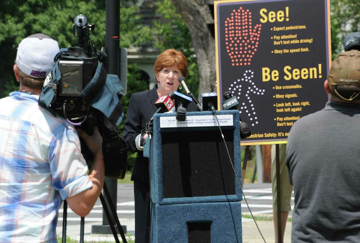 Albany Mayor Kathy Sheehan speaks as state DOT employees and other officials talked about pedestrian safety at a new pedestrian signal at Western Avenue and Russell Road during a press conference near Eagle Point Elementary School on Monday, June 20, 2016 in Albany, N.Y. (Lori Van Buren / Times Union)