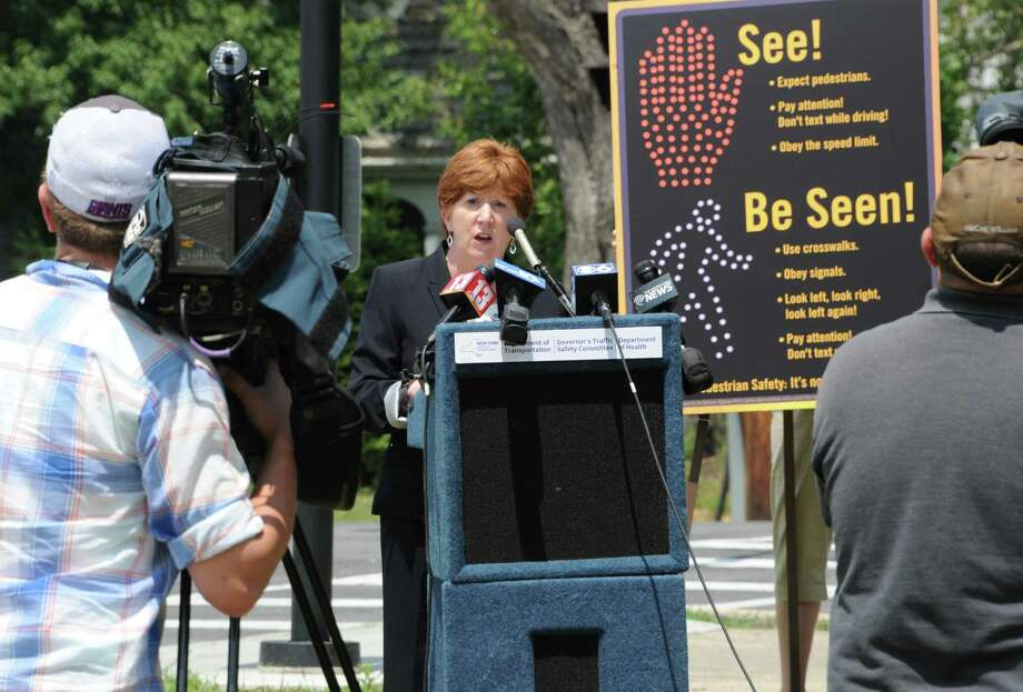 Albany Mayor Kathy Sheehan speaks as state DOT employees and other officials talked about pedestrian safety at a new pedestrian signal at Western Avenue and Russell Road during a press conference near Eagle Point Elementary School on Monday, June 20, 2016 in Albany, N.Y.  (Lori Van Buren / Times Union) Photo: Lori Van Buren / 40037059A