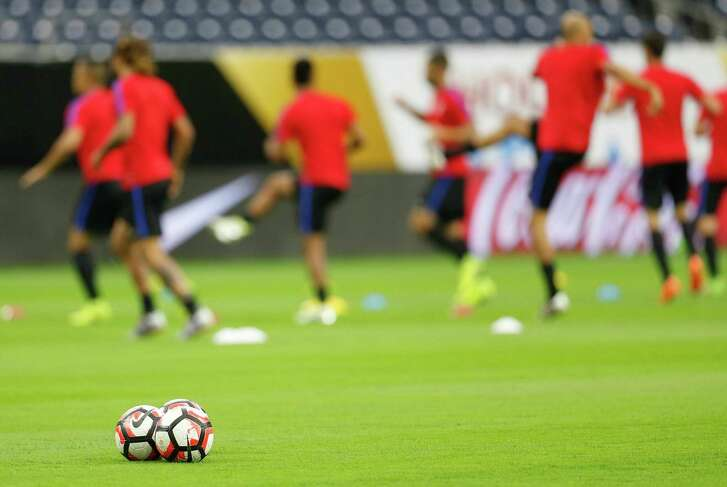 Soccer balls on the field during the USA men's soccer practice at NRG, Monday, June 20, 2016, in Houston, as they prepare to face Argentina, Tuesday night.  ( Karen Warren  / Houston Chronicle )