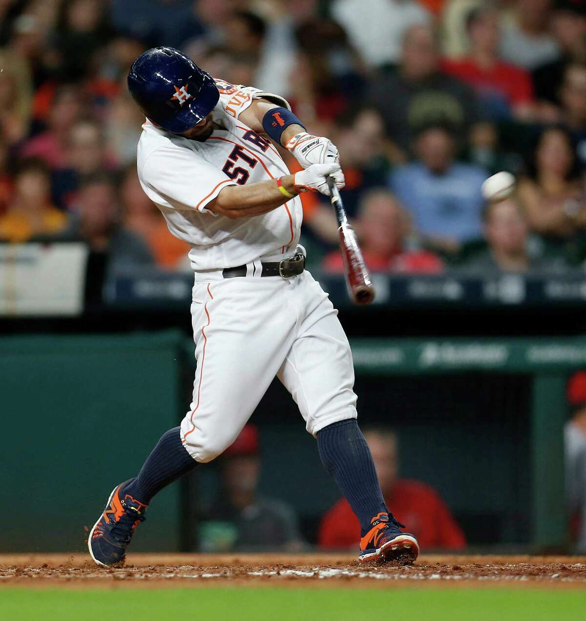 June 20: Astros 10, Angel 7 Houston Astros second baseman Jose Altuve (27) hits a home run during the fourth inning of an MLB baseball game at Minute Maid Park, Monday, June 20, 2016, in Houston.
