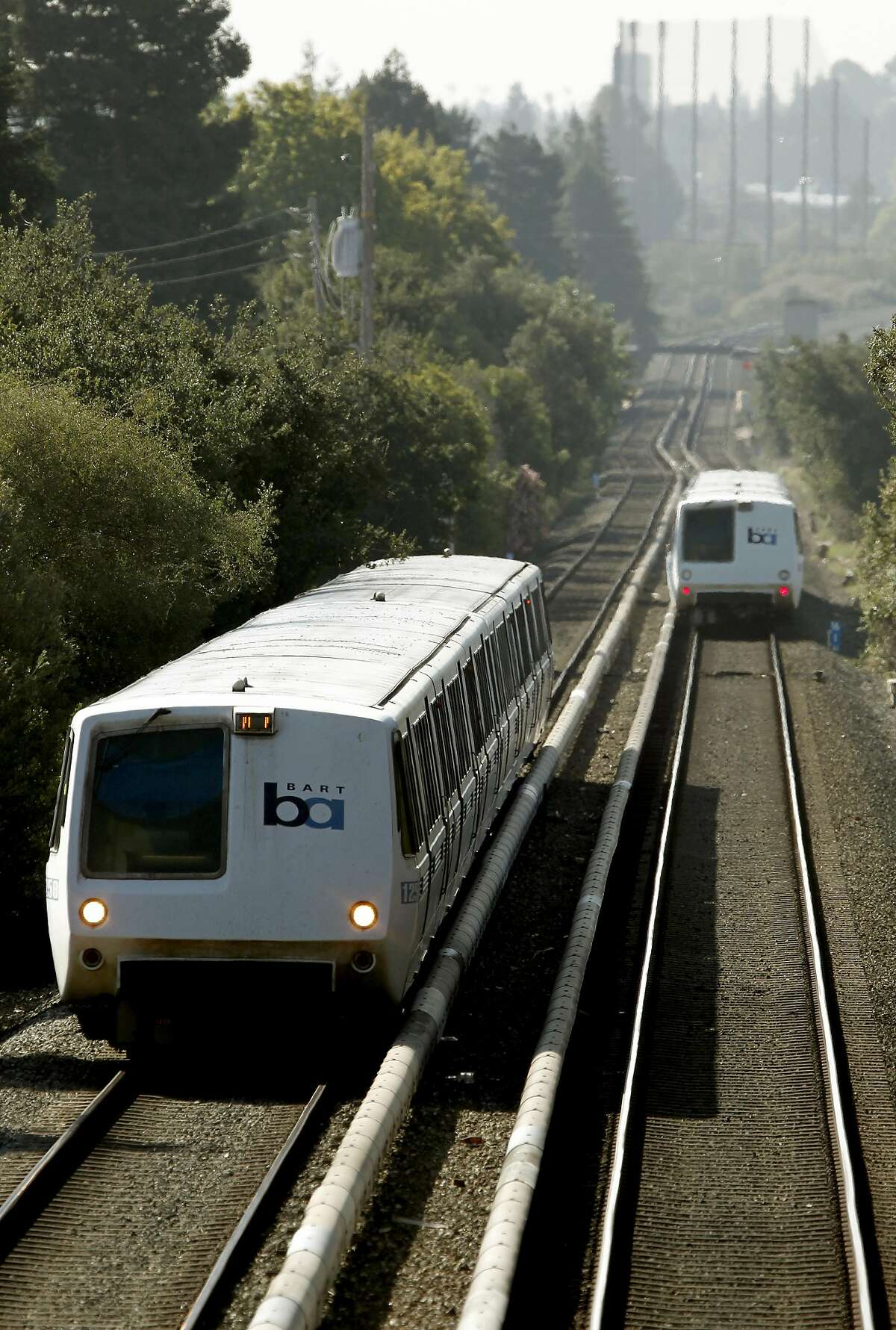 BART trains along the Fremont line roll through Hayward, Calif., on Friday September 07, 2012. The BART transit system is celebrating it's 40th year in service.