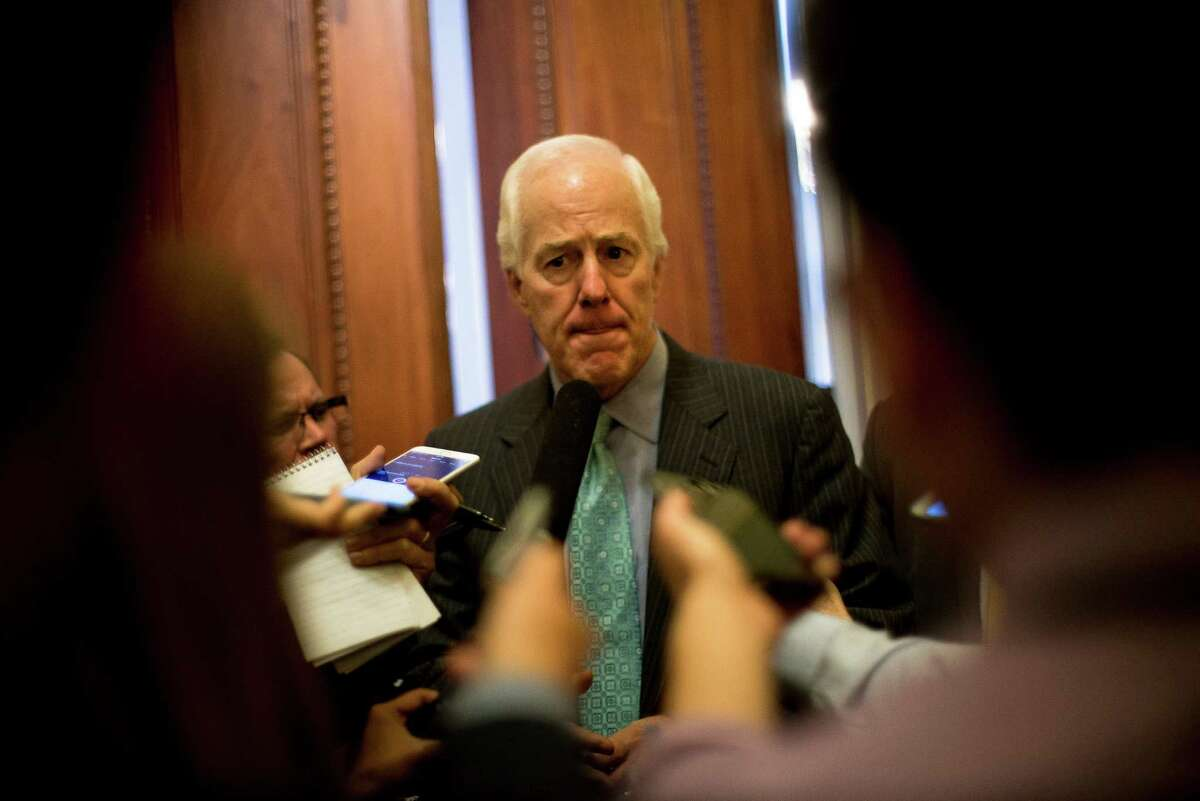 Senate Majority Whip John Cornyn (R-Texas) speaks with reporters after amendments on gun reform failed on Capitol Hill on Monday. The Senate on Monday failed to advance four separate measures aimed at curbing gun sales, the latest display of congressional inaction after a mass shooting.