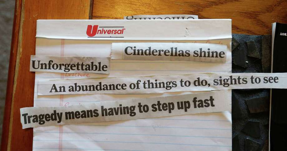 "Cut out headlines and sayings are laid out for possible use for a art project by Crystal Bentley Thursday, April 28, 2016, in Houston. Bentley says after being physically and sexually abused in the Texas foster care system, she's ""become a statistic once, twice, again and again"" in adulthood: having unhealthy relationships, being sexually trafficked and having four children. (AP Photo/Pat Sullivan) Photo: Pat Sullivan, STF / Associated Press / Copyright 2016 The Associated Press. All rights reserved. This material may not be published, broadcast, rewritten or redistribu"