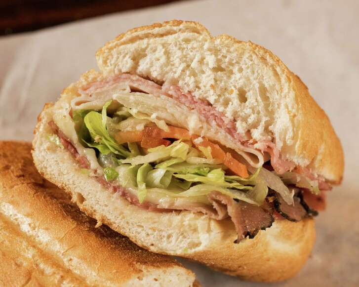 """A new Potbelly Sandwich Shop opens June 21 at 1240 N. Loop 336 W. in Conroe. Shown: """"A Wreck"""" Sandwich of salami, roast beef, turkey, ham and Swiss cheese."""