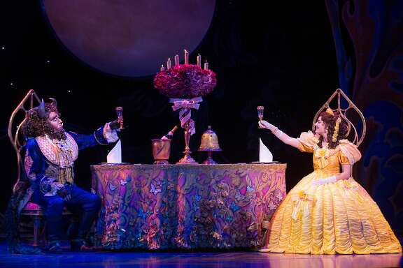 """The Beast (Sam Hartley)and Belle (Brooke Quintana)in """"Disney's Beauty and the Beast."""""""