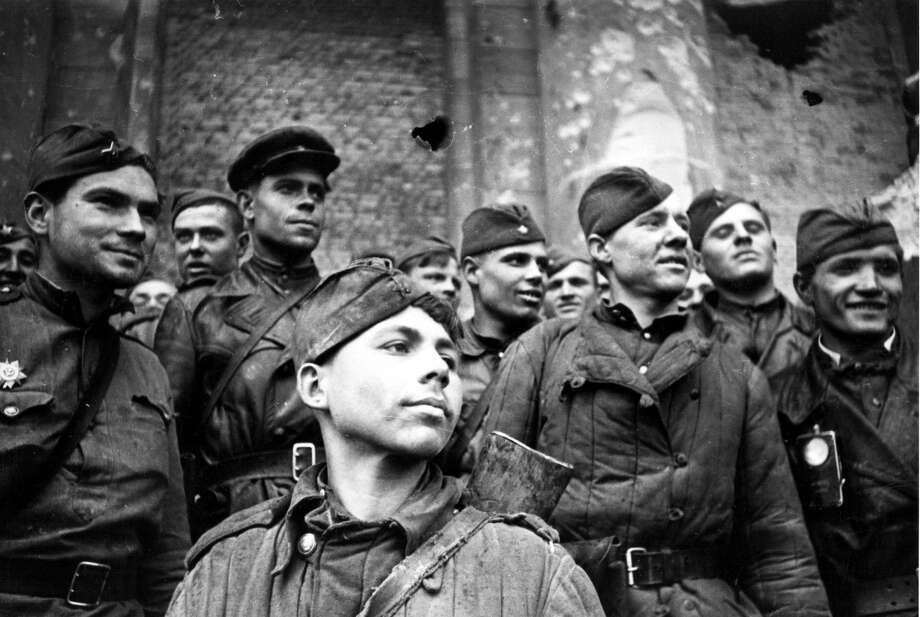 May 1945:  Victorious Russian soldiers in Berlin, Germany, at the end of the Second World War.  (Photo by Slava Katamidze Collection/Getty Images) Photo: Slava Katamidze Collection/Getty Images, Getty Images