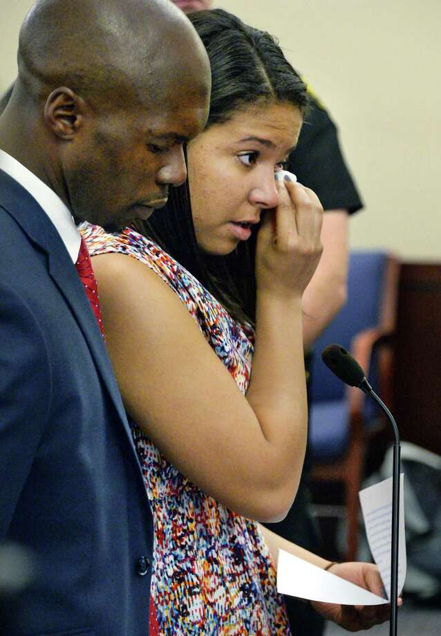 Alexis Briggs wipes a tear as she pleads guilty to disorderly conduct in the CDTA UAlbany bus case before Judge Herrick in Albany County Court Tuesday June 21, 2016 in Albany, NY.  (John Carl D'Annibale / Times Union) Photo: John Carl D'Annibale / 40037069A
