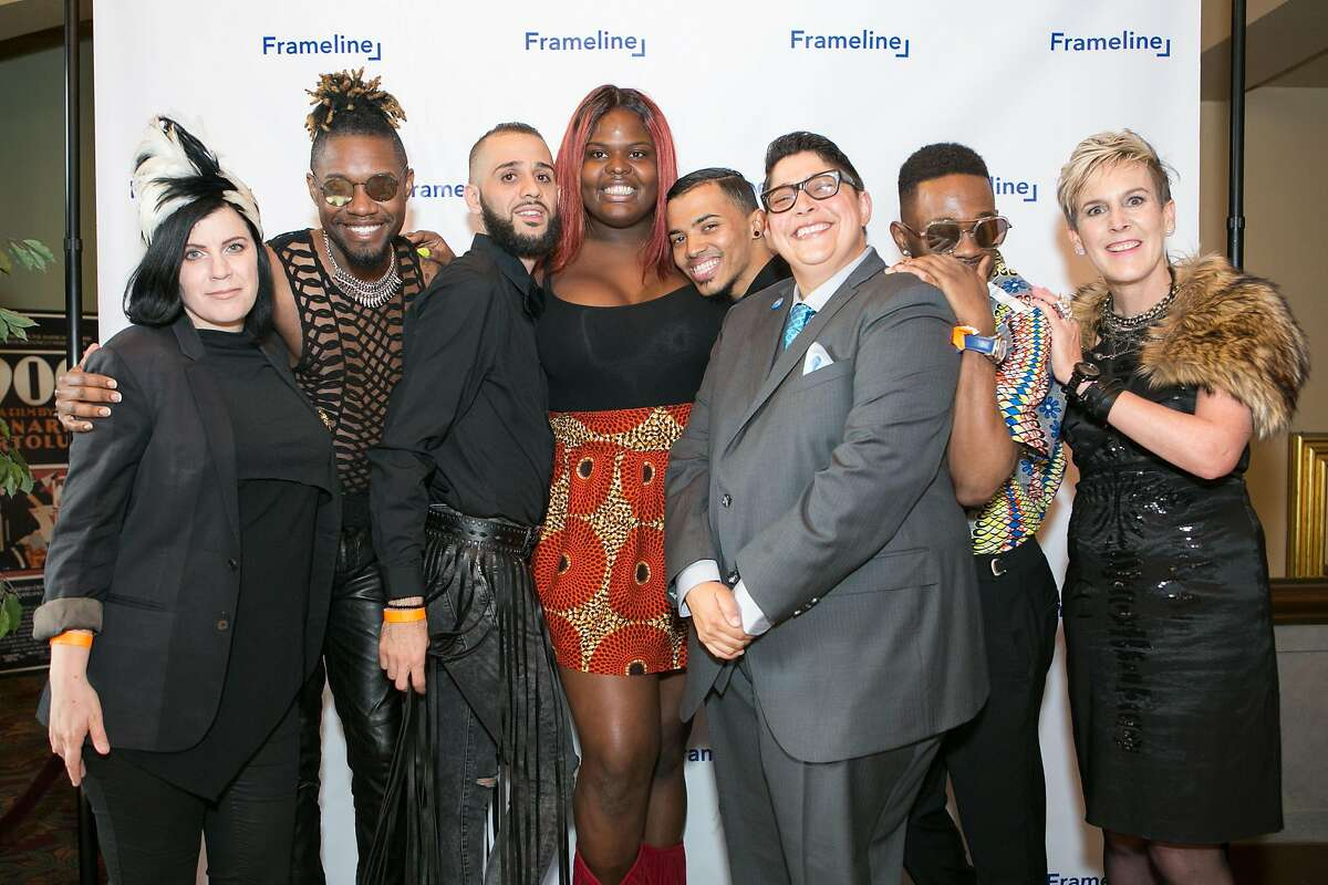 The director,�cast of�Kiki, the Opening Night film for�Frameline40: San Francisco International LGBTQ Film Festival, and Frameline programmers. From left:�Director�Sara Jorden�,�Writer/Subject�Twiggy Pucci Gar�on,�Chi Chi Mizrahi, Gia Marie Love,�Christopher Waldorf, Frameline Director of Exhibition &rogramming Des Buford, Ivan Mendoza, and Frameline Executive Director Frances Wallace.