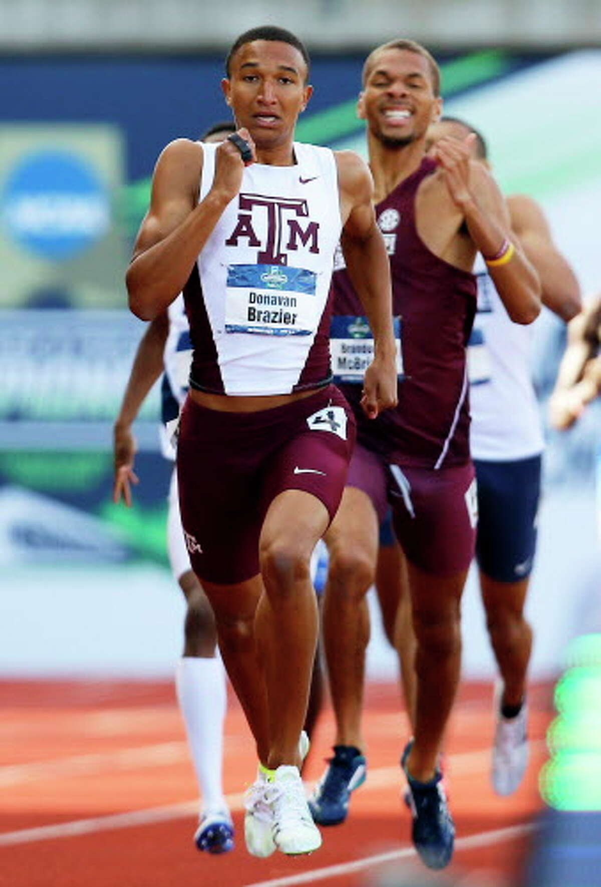 Texas A&M's Donavan Brazier runs on his way to winning the men's 800 meter at the NCAA outdoor track and field championships in Eugene, Ore., Friday, June 10, 2016. (AP Photo/Ryan Kang)