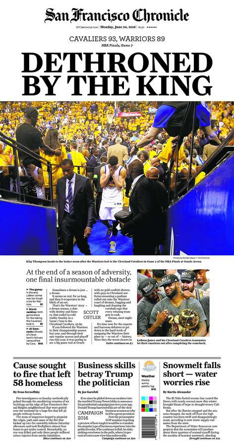 The San Francisco Chronicle's front page on Monday, June 20 after the Warriors lost in the NBA title game. Photo: San Francisco Chronicle