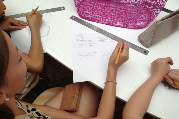 Fashion Camp Houston during a camp workshop led by the Elaine Turner design team