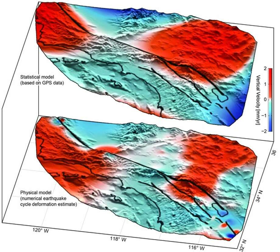 Uplift (red) and subsidence (blue) based on GPS data (top) confirm predicted motion (bottom). Photo: Handout Via University Of Hawaii