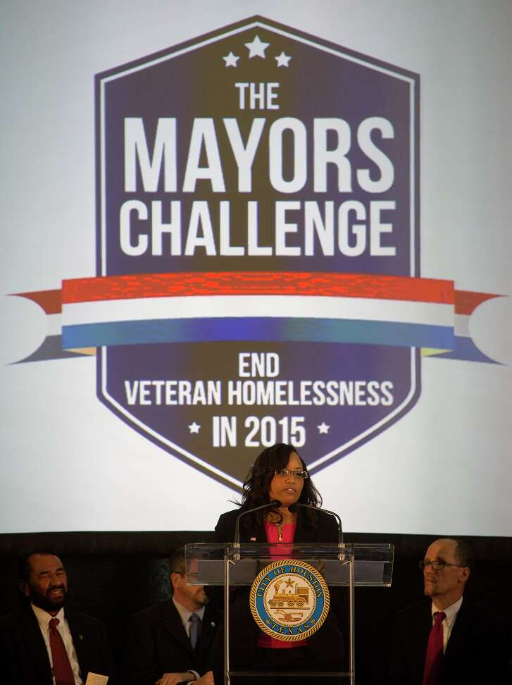 Former homeless veteran Lyn Smith-Ricks speaks about the progress to end veteran homelessness made by the city of Houston during a press conference at Union Station, Monday, June 1, 2015, in Houston. (Cody Duty / Houston Chronicle)