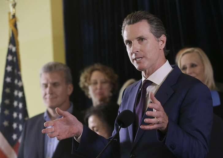 Lt. Gov. Gavin Newsom speaks in support of the Adult Use of Marijuana Act ballot measure in San Francisco, Wednesday, May 4, 2016. Backers of a marijuana legalization initiative said Wednesday they have collected enough signatures for the measure to qualify for the November ballot in California. (AP Photo/Jeff Chiu)